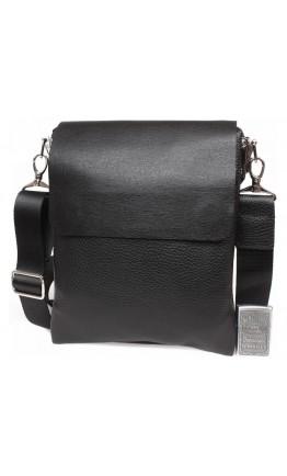 Мужская черная кожаная сумка через плечо 7318kt