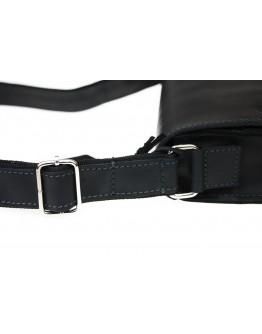 Черная кожаная вместительная сумка через плечо 73332-SKE