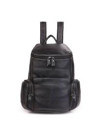 Черный небольшой кожаный рюкзак 7336A