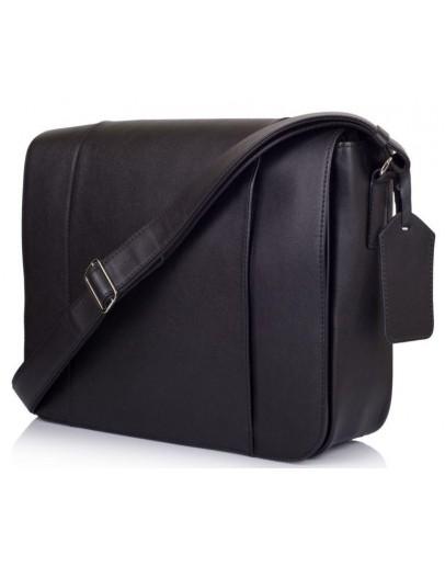 Черная вместительная кожаная сумка на плечо Tarwa 7338A-7
