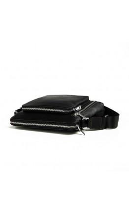 Удобный кожаный черный мессенджер 7341-1