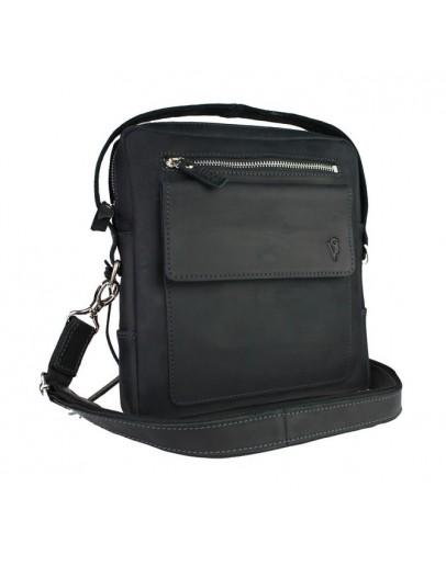 Фотография Кожаная черная мужская сумка на плечо 734109S-1-SKE