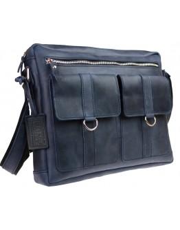 Синяя винтажная кожаная мужская сумка на плечо 7344022-SKE