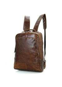 Рюкзак мужской рыжий из натуральной кожи 7347B