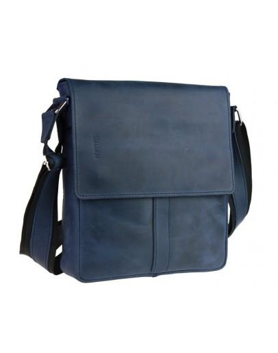 Фотография Синяя кожаная мужская сумка через плечо 73486S-1-SKE