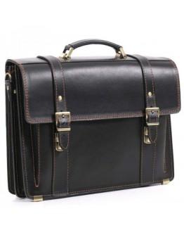 Оригинальный черный портфель из кожи 73-rvm от Manufatto