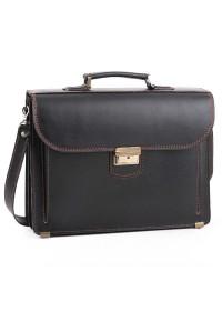 Кожаный чёрный мужской портфель 71-rvm c коричневой нитью