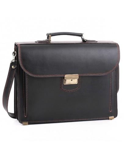 Фотография Кожаный чёрный мужской портфель 71-rvm c коричневой нитью