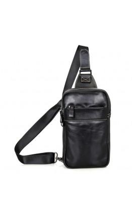 Чёрный рюкзак на одну шлейку из гладкой кожи 74002a