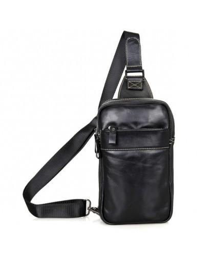 Фотография Чёрный рюкзак на одну шлейку из гладкой кожи 74002a