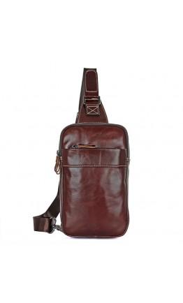 Коричневый слинг - рюкзак мужской 74002c