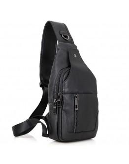 Кожаный черный рюкзак мужской на одну шлейку 74004