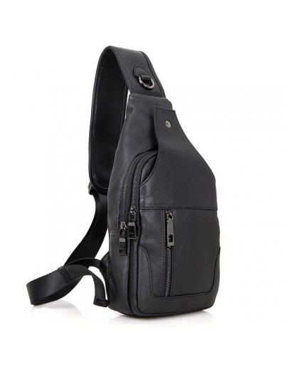 Фотография Кожаный черный рюкзак мужской на одну шлейку 74004