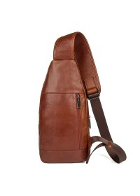 Кожаный мужской слинг рыже-коричневого цвета 74004X