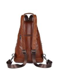 Коричневый вместительный мужской кожаный слинг 74005b
