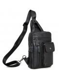 Фотография Черный кожаный рюкзак мужской - сумка 74006a