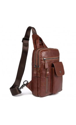 Коричневый рюкзак для мужчины на плечо 74006c