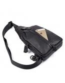 Фотография Черная сумка мужская рюкзак на одно плечо 74007A