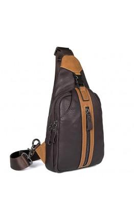 Коричневый рюкзак мужской на одну шлейку 74007C-1