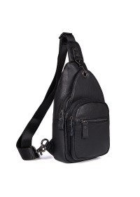 Черный мужской рюкзак, слинг мужской кожаный 74008