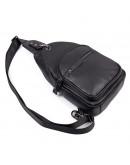 Фотография Черный мужской рюкзак, слинг мужской кожаный 74008