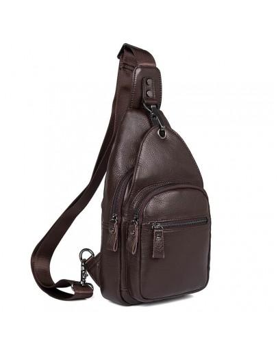 Фотография Коричневая мужская сумка - слинг 74008B
