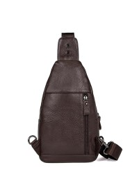 Коричневая мужская сумка - слинг 74008B