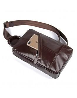 Кожаный мужской рюкзак-слинг коричневый 74010C