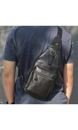 Черный кожаный мужской слинг на плечо 74012A