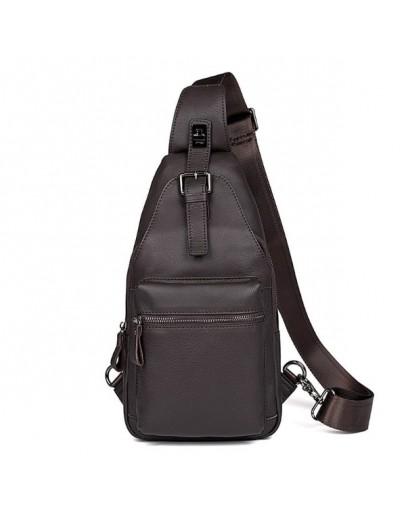 Фотография Кожаный коричневый мужской слинг - рюкзак 74012Q