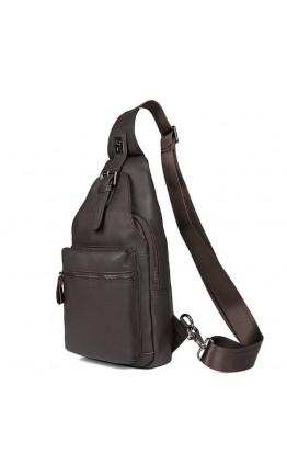 Кожаный коричневый мужской слинг - рюкзак 74012Q