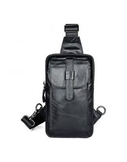 Мужской черный слинг кожаный 74017A