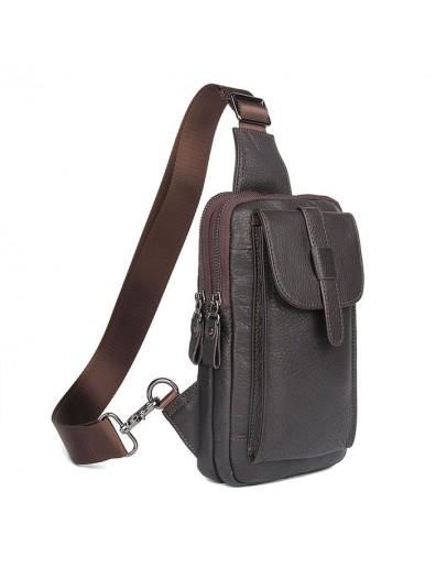 Фотография Коричневый слинг мужской сумка на плечо 74017C