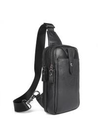 Мужской кожаный черный небольшой слинг 74018A