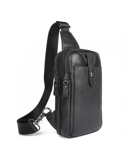 Фотография Мужской кожаный черный небольшой слинг 74018A