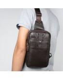 Фотография Мужской коричневый кожаный рюкзак слинг 74018C