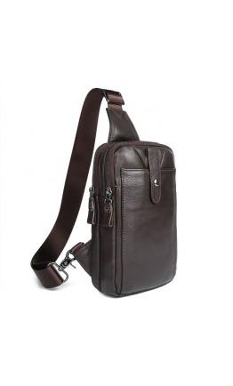 Мужской коричневый кожаный рюкзак слинг 74018C