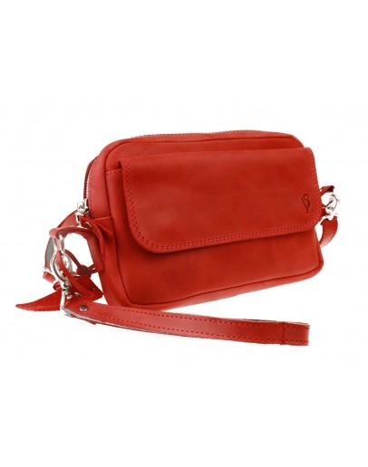 Фотография Красная женская кожаная небольшая сумка 741266-SKE