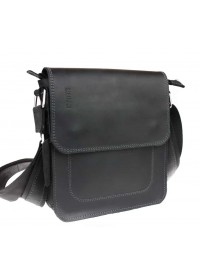 Кожаная мужская плечевая черная сумка 741333S-SKE