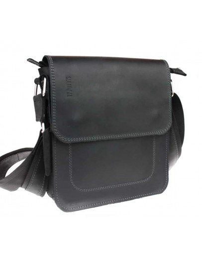 Фотография Кожаная мужская плечевая черная сумка 741333S-SKE
