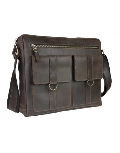 Фотография Коричневая кожаная мужская горизонтальная сумка 74140S-2-SKE