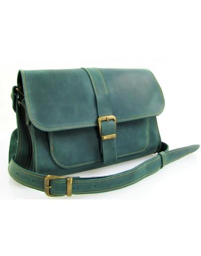 Фотография Женская зеленая кожаная сумка 74149-SGE