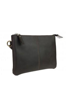 Вместительный кожаный мужской коричневый клатч 7418-SKE