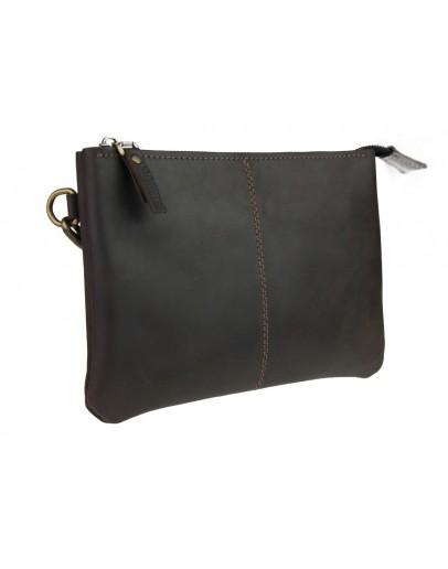 Фотография Вместительный кожаный мужской коричневый клатч 7418-SKE