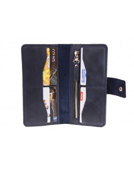 Синее мужское портмоне кожаное 74410P-SKE