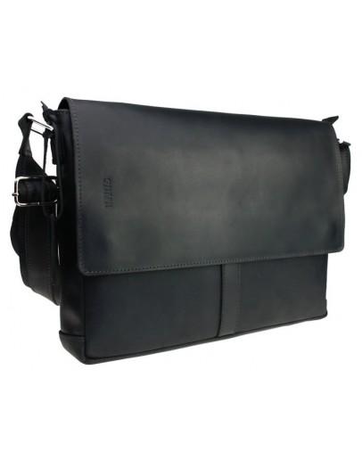 Фотография Мужская черная кожаная горизонтальная сумка 7444AS-SKE