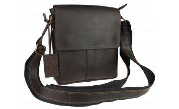 Мужская кожаная темно-коричневая сумка на плечо 74725-SKE