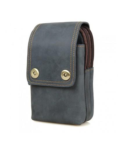 Фотография Мужская сумка на пояс сине-серого цвета 75003K