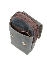 Мужская сумка на пояс сине-серого цвета 75003K