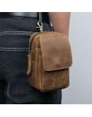Фотография Коричневая сумка на пояс - барсетка 75006B